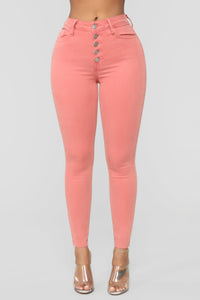 One Love High Rise Skinny Jeans - Coral
