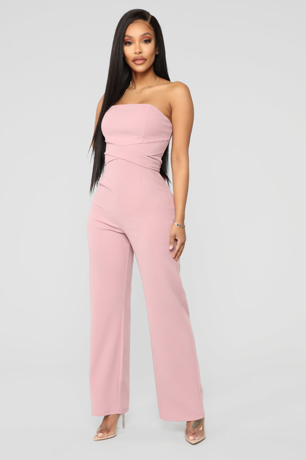 265f3c2352 Standing Front Row Tube Jumpsuit - Dusty Pink