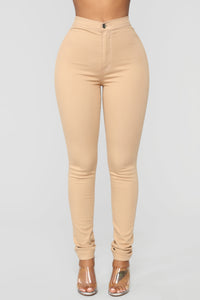 Super High Waist Denim Skinnies - Tan