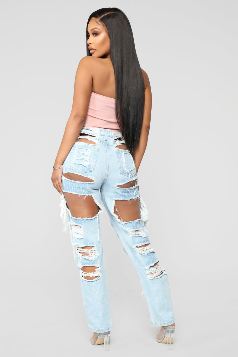The Missing Piece Distressed Jeans - Light Blue Wash