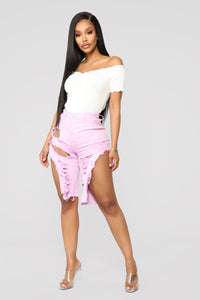 All Jacked Up Distressed Shorts - Lavender