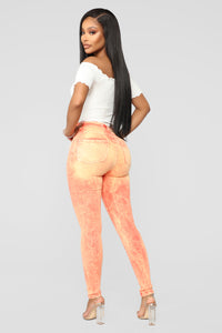 Bleach Please High Rise Jeans - Orange