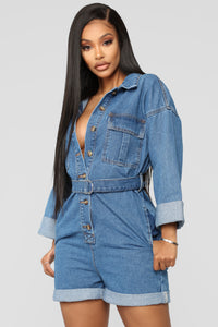 Searching For You Denim Romper - Medium Wash