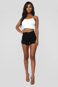 Living It Up High Rise Denim Shorts - Black/White