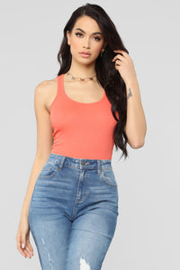 Zoey Racer Back Tank - Coral Angle 1