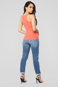 Zoey Racer Back Tank - Coral Angle 5