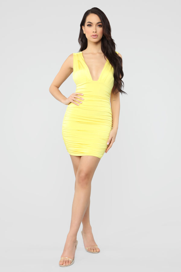 1114ba62f18 Looking Like A Snack Ruched Dress - Yellow
