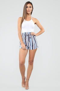 Forever On Vacation Tie Waist Shorts - Blue Angle 1