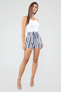 Forever On Vacation Tie Waist Shorts - Blue Angle 3