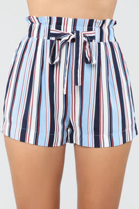 Forever On Vacation Tie Waist Shorts - Blue Angle 2