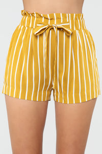 Clara Stripe Pleated Shorts - Mustard/Combo Angle 1