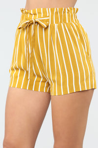 Clara Stripe Pleated Shorts - Mustard/Combo Angle 4