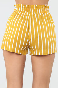 Clara Stripe Pleated Shorts - Mustard/Combo Angle 6
