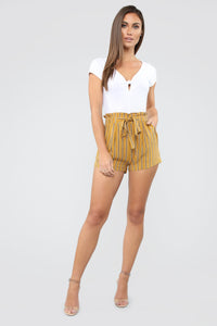 Come Away With Me Tie Waist Shorts - Mustard Angle 3