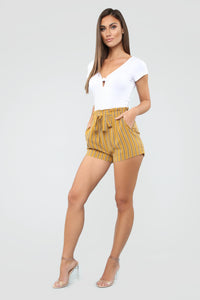 Come Away With Me Tie Waist Shorts - Mustard Angle 2