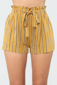 Come Away With Me Tie Waist Shorts - Mustard Angle 1