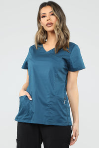 No more Pain Scrub Top - Caribbean blue