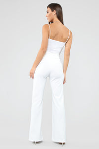 Hold Me Down Belted Flare Pants - White