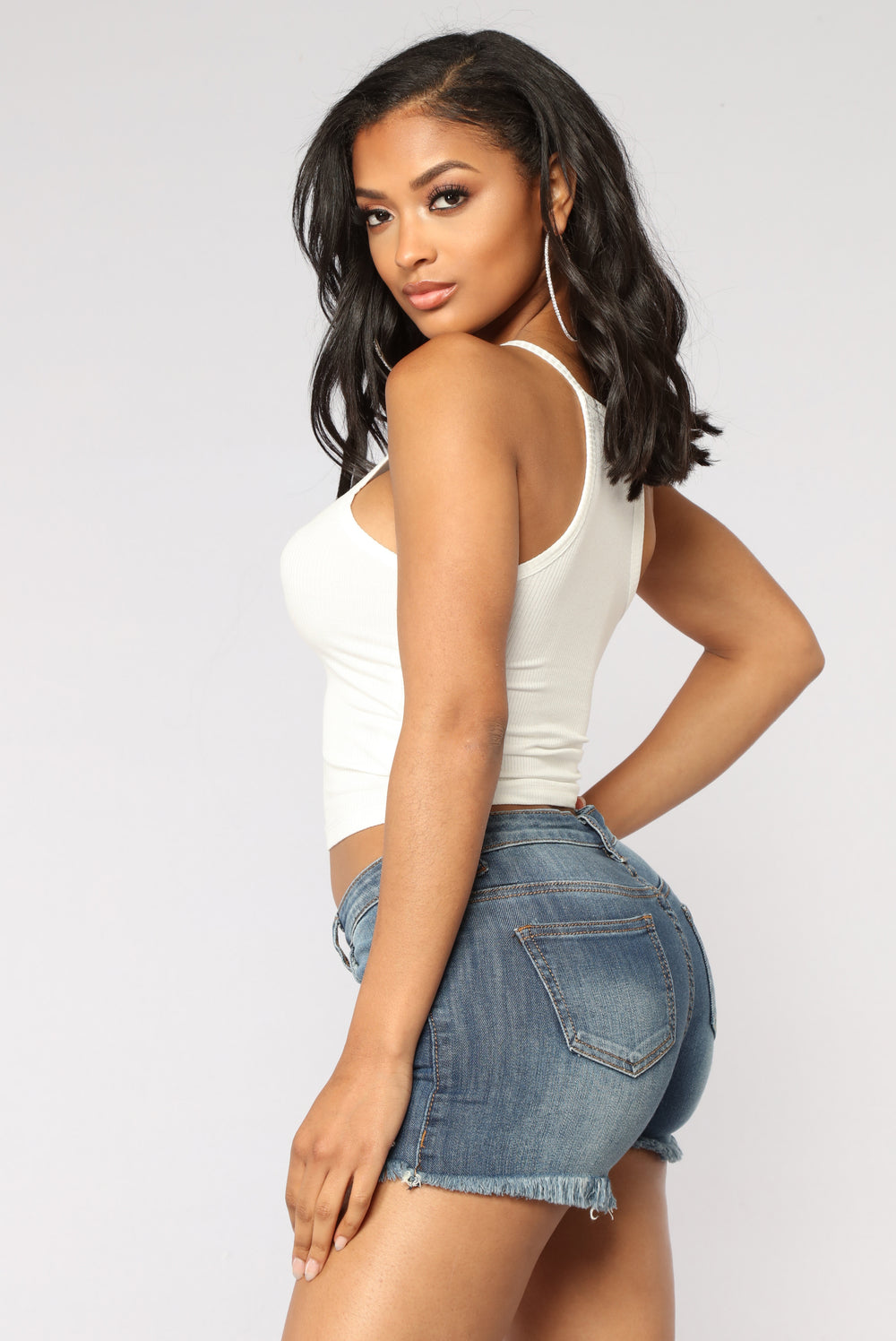 Demi Racer Back Crop Cami II Top - Ivory