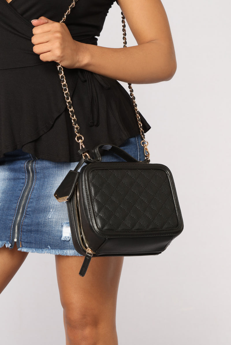 Bianca Quilted Crossbody Bag - Black