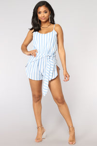 Candy Striper Romper - Blue