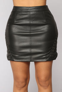 Rebel Rider Faux Leather Skirt - Black