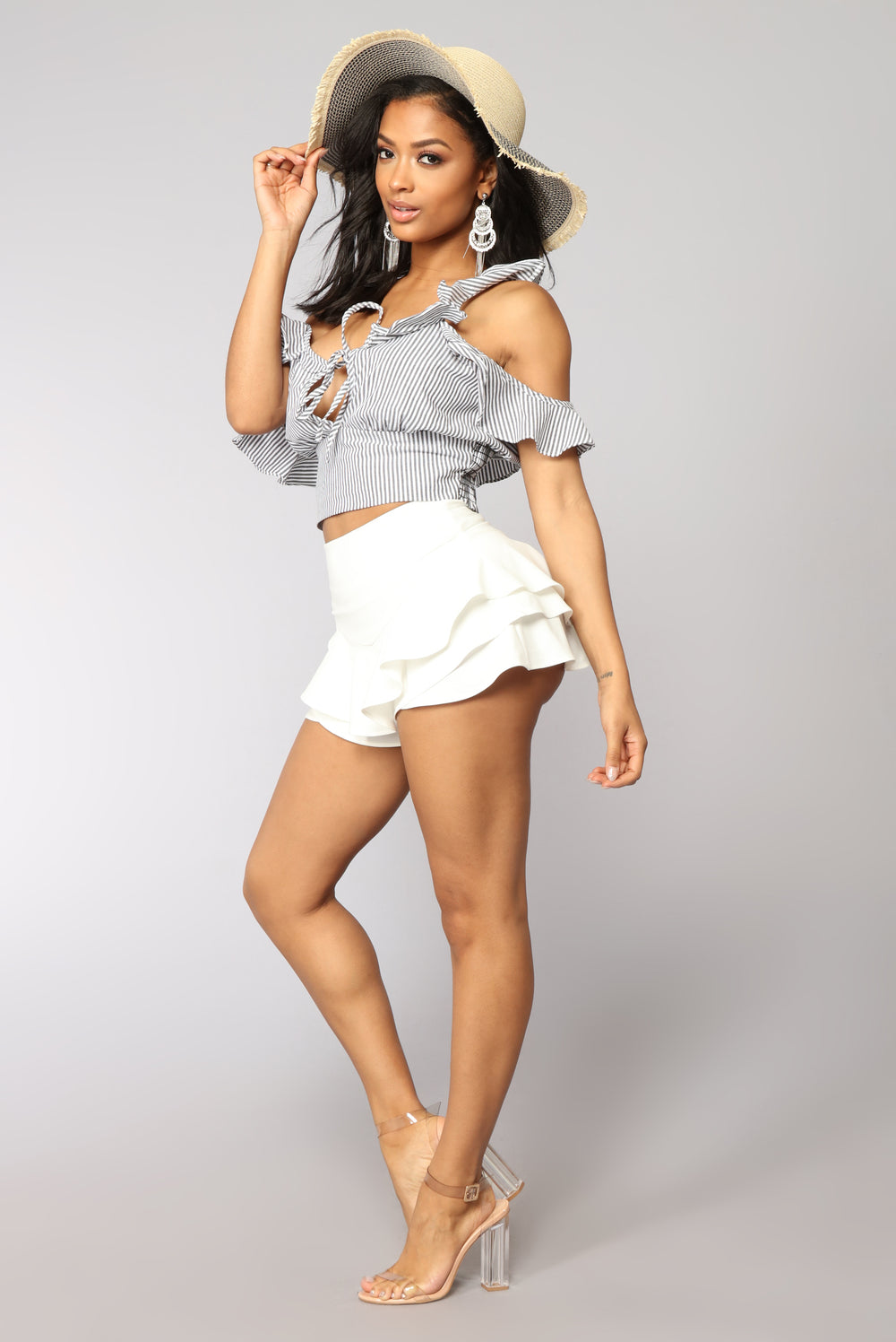 Feel Like Dancing Ruffle Skort - White