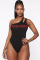 Blessed One Shoulder Bodysuit - Black
