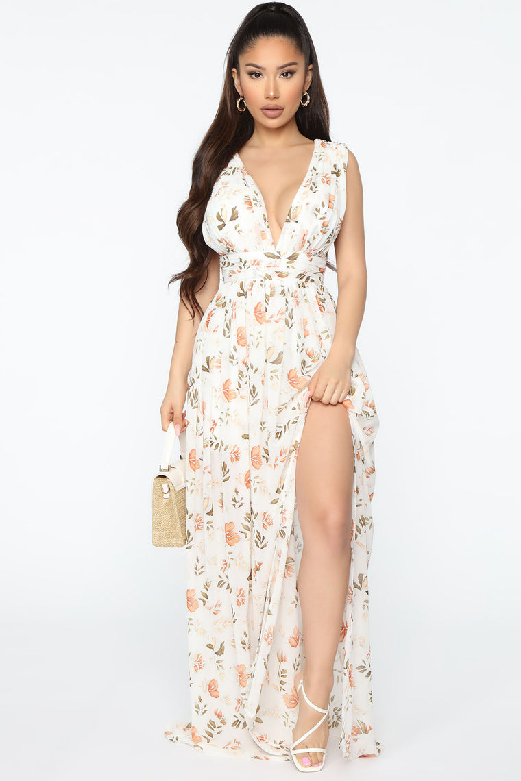 Always Changing Printed Maxi Dress - Ivory/combo