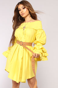 Linda Off Shoulder Dress - Yellow