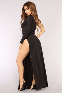 Audree Slit Dress - Black