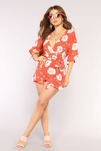 Beach Day Floral Romper - Red