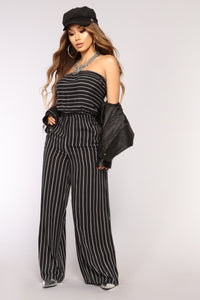 In Malibu Stripe Jumpsuit - Black