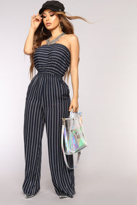 In Malibu Stripe Jumpsuit - Navy