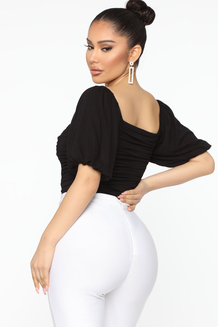 No Need To Ruche Bodysuit - Black