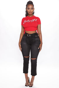 Got You Baby Girl Crop Top - Red Angle 3