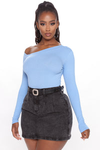 Carla One Shoulder Bodysuit - Blue Angle 3