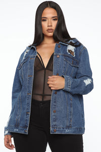 Make You Want More Fishnet Denim Jacket - Dark Denim Angle 1