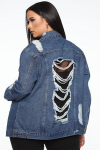 Make You Want More Fishnet Denim Jacket - Dark Denim Angle 3