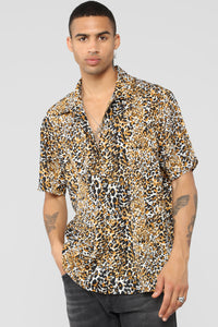 Leopard King Short Sleeve Woven Top - Leopard