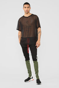 Netted Up Mesh Tee - Black