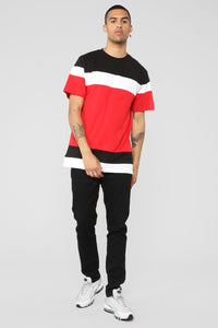 Elton Color Block Crew Neck Tee - Red/Multi