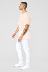 Netted Up Mesh Tee - Pink