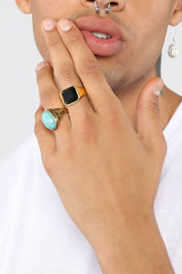 Black And Gold Signet Ring - Gold/Black
