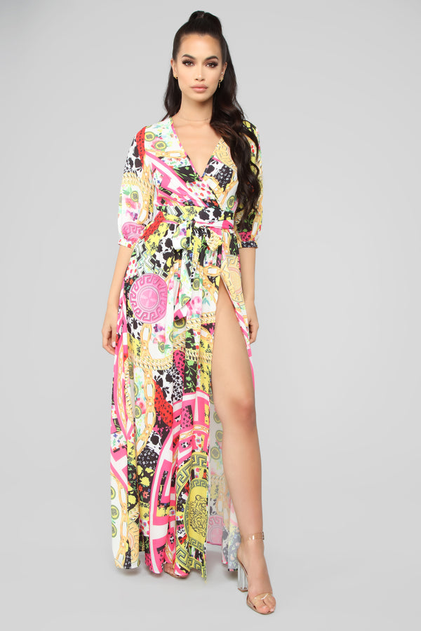 7c28843a0a Everything Going On Maxi Wrap Dress - Pink Combo