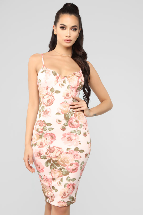 Fully In Bloom Floral Midi Dress - Blush Combo 989d116d3
