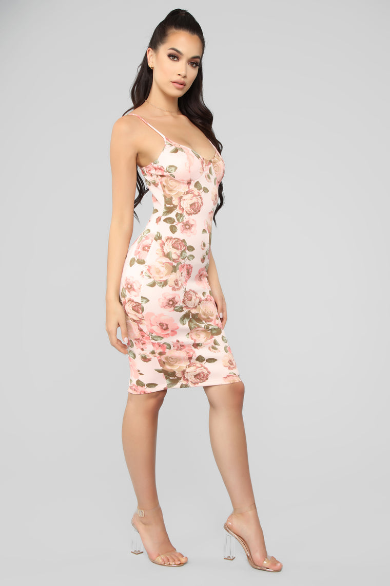 Fully In Bloom Floral Midi Dress - Blush Combo
