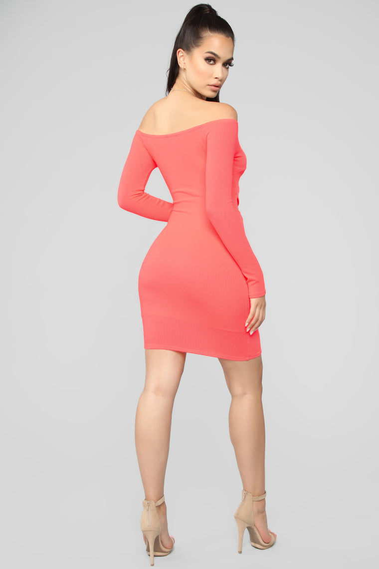 Knot A Simple Off Shoulder Mini Dress - Neon Coral