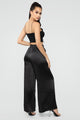 Kimberly Satin Wide Leg Pants - Black