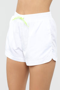 Love These Vibes Short Set - White/Lime